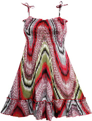 Girls Dress Smocked Halter Paisley Red Brown Size 2-10 Years