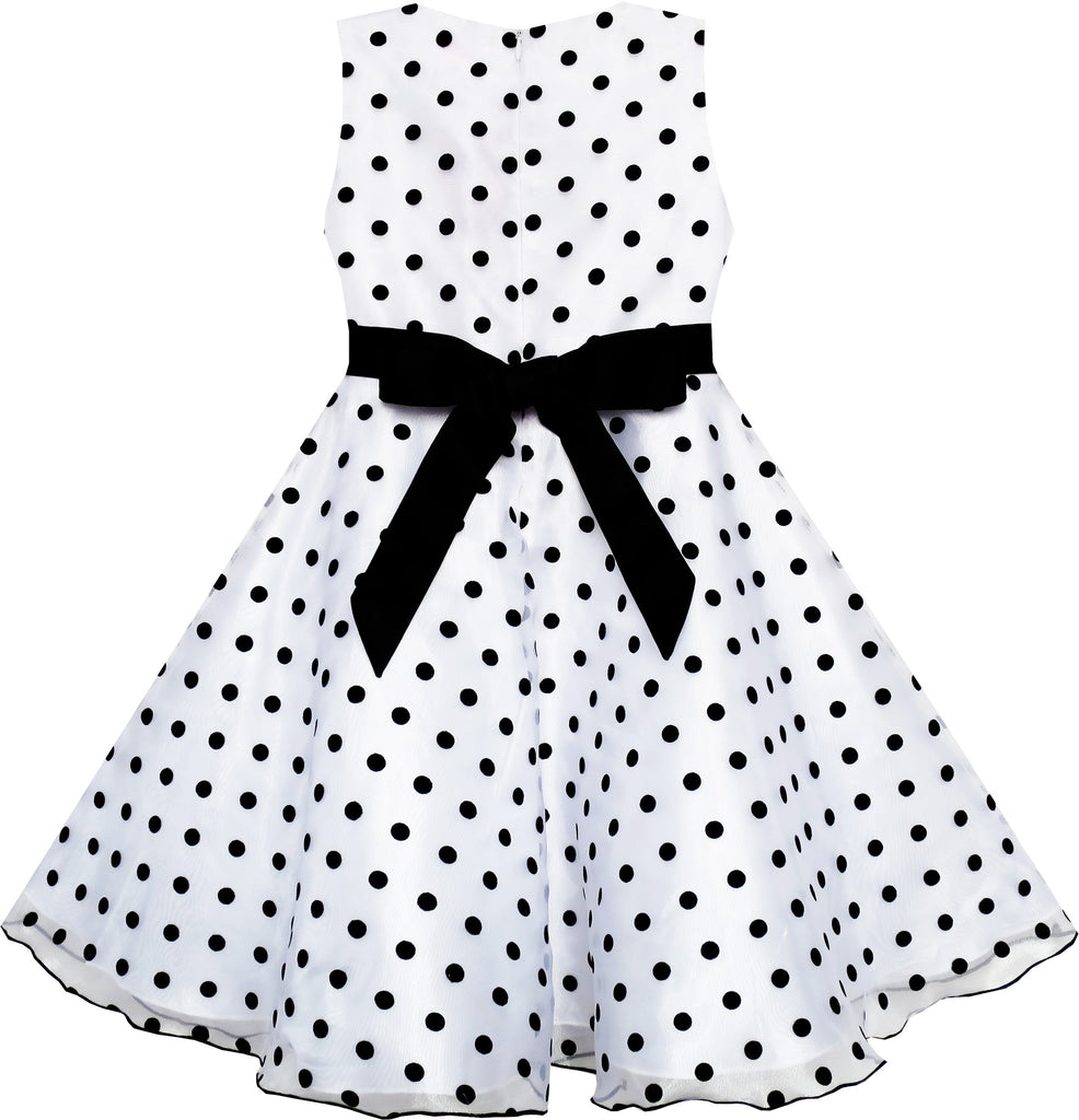 Girls Dress Black White Dot Tulle Party Pageant Size 4-12 Years