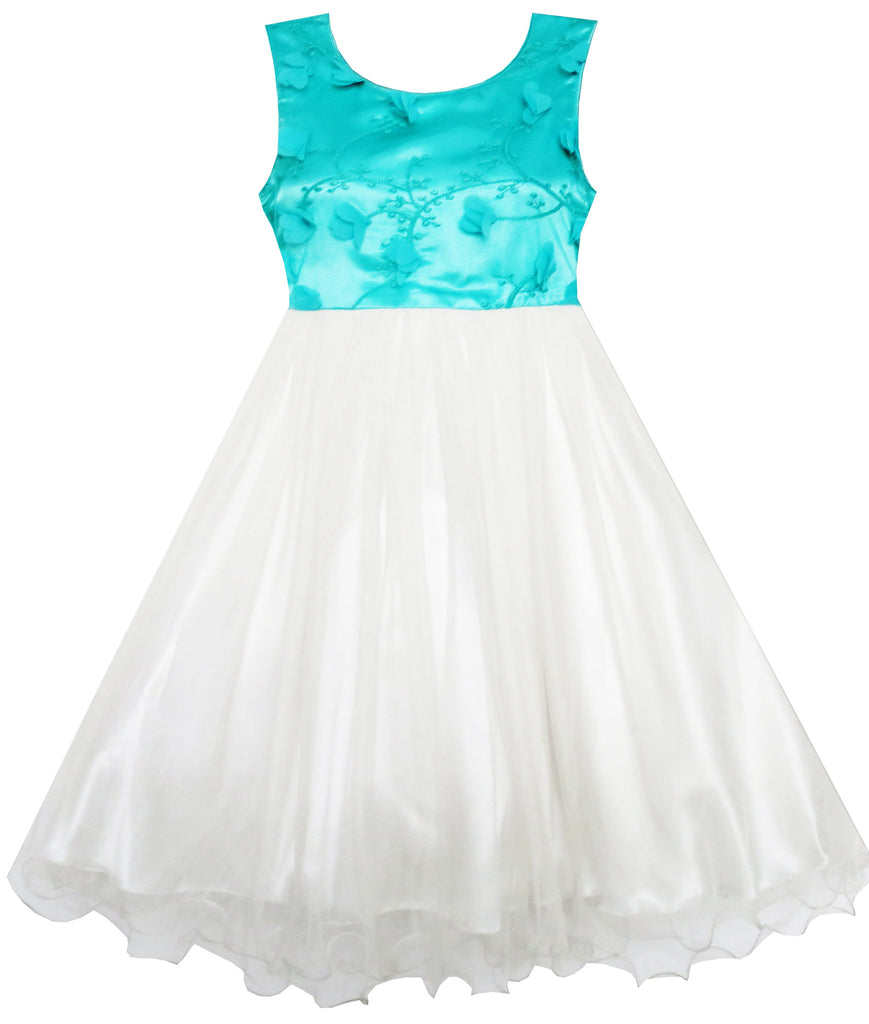 Girls Dress Green Lace Embroidered Flower Tulle Pageant Size 7-14 Years