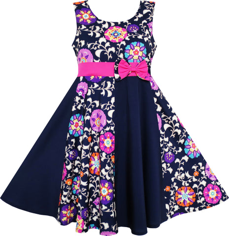 Girls Dress Asymmetric Flower Bow Tie Sleeveless Dark Blue Size 7-14 Years