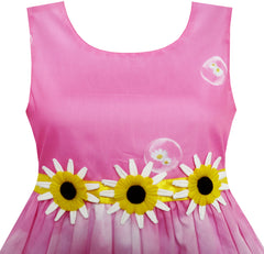 Girls Dress Sunflower Bubble Lily Flower Garden Print Size 4-12 Years