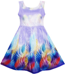 Girls Dress Sky Fantasy Colorful Angel Wings Feather Print Size 4-12 Years