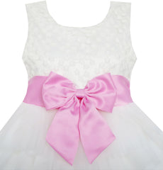 Girls Dress Pink Bow Tie Wedding Lace Tulle Overlay Layered Size 3-6 Years