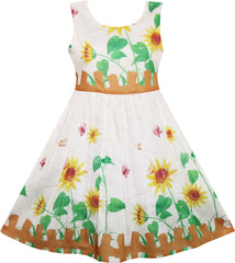 Girls Dress Butterfly Sunflower Garden Fence Print Size 4-12 Years