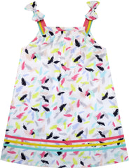Girls Dress Sleeveless Feather Colorful Silk Decoration Size 2-6 Years