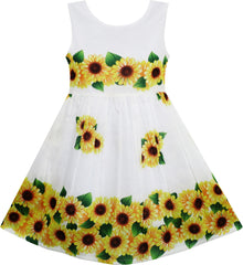 Girls Dress Yellow Sunflower Green Leaves Sleeveless Size 2-6 Years