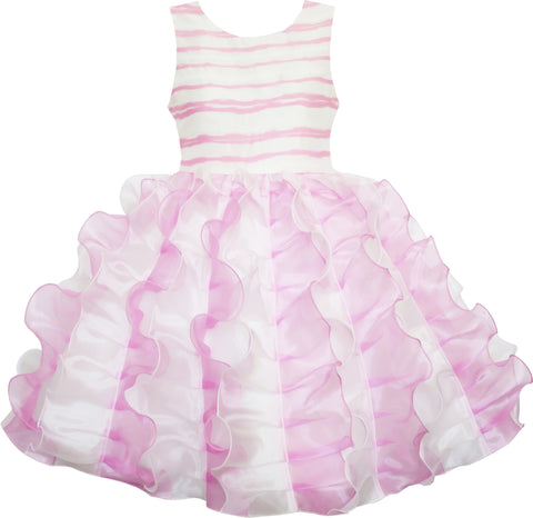 Girls Dress Pleated Tulle Princess Striped Wedding Pageant Size 7-14 Years