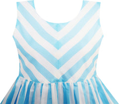 Girls Dress Striped Rose Print Tulle Blue Size 7-14 Years
