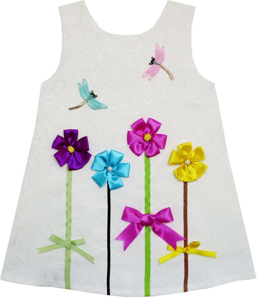 Girls Dress Tank Jacquard Embroidered Dragonfly Flower Size 2-6 Years