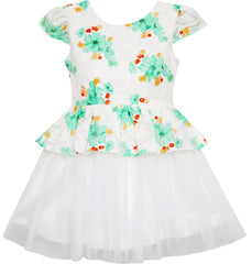 Girls Dress Jacquard Flower Detailing With Tulle Overlay Size 7-14 Years