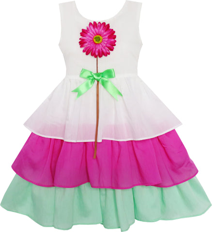 Girls Dress Cake Layered Purple Green Tulle Purple Sunflower Size 7-14 Years