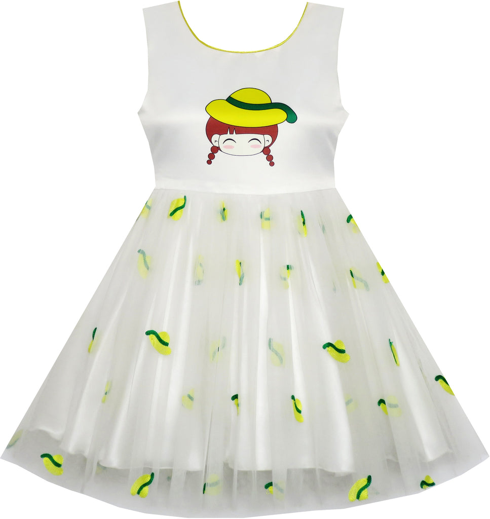 Girls Dress Cartoon Girl Pattern Tulle Overlay Party Pageant Size 2-6 Years