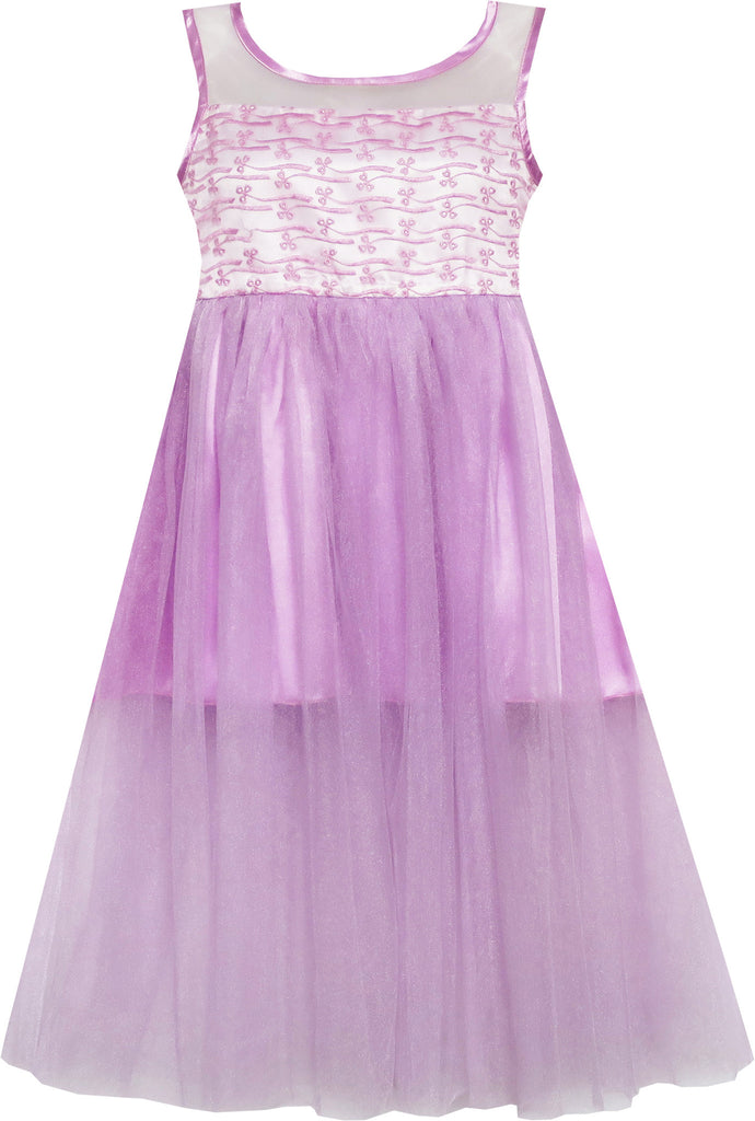 Girls Dress Satin Tulle Overlay Princess Party Purple Size 7-14 Years