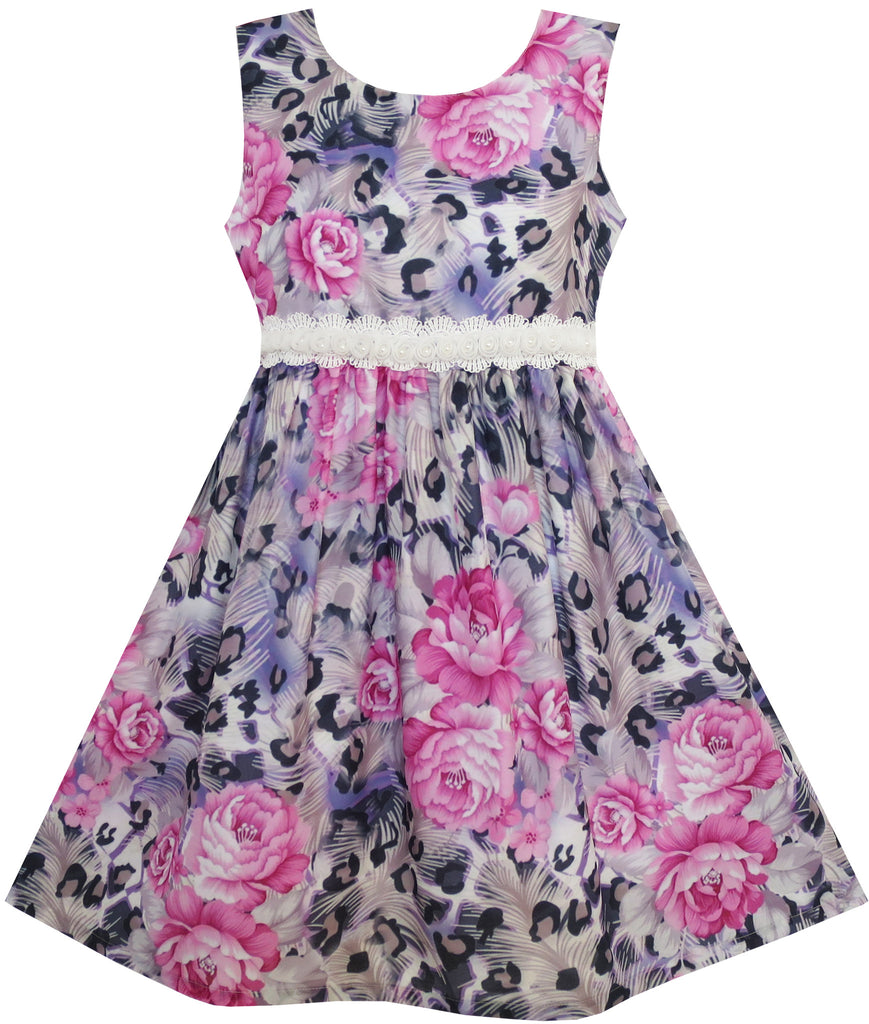 Girls Dress Purple Rose Flower Print Lace Waist Sleeveless Size 3-10 Years