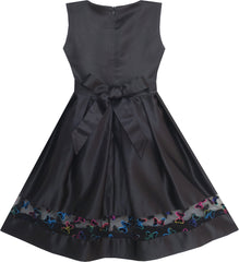 Girls Dress Embroidered Butterfly Tulle Trim Party Black Size 7-14 Years