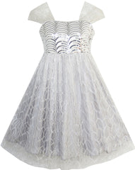 Girls Dress Sequin Mesh Party Wedding Tulle Silver Gray Size 7-14 Years