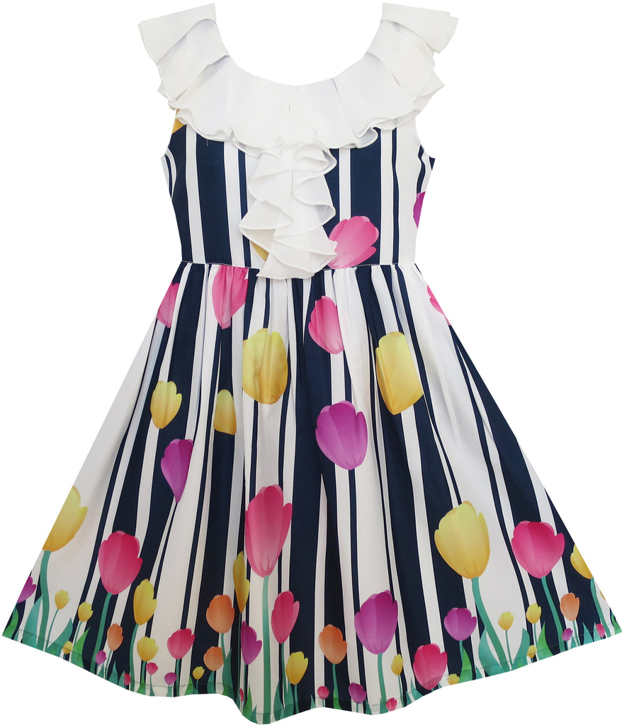 Girls Dress Turn-Down Collar Tulip Striped Print Chiffon Size 7-14 Years