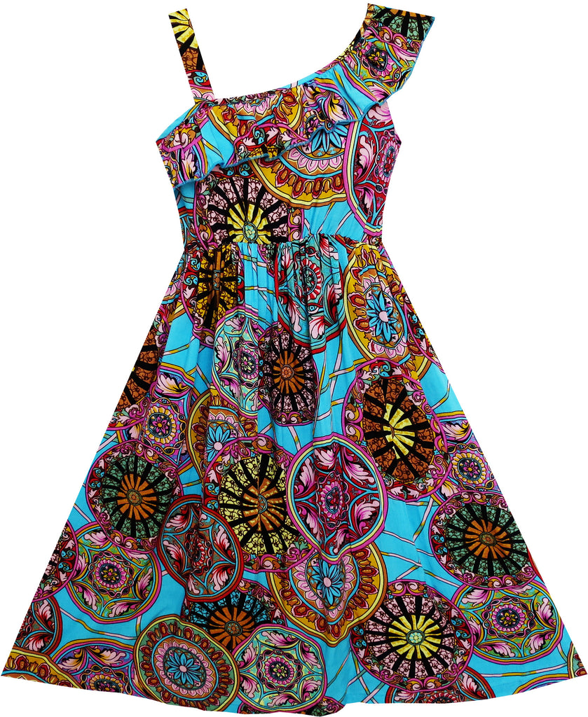 Girls Dress Sleeveless Floral Print Asymmetric Shoulder Blue Size 7-14 Years