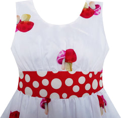 Girls Dress Mushroom Flower Grass Print Polka Dot Belt Red Size 4-12 Years