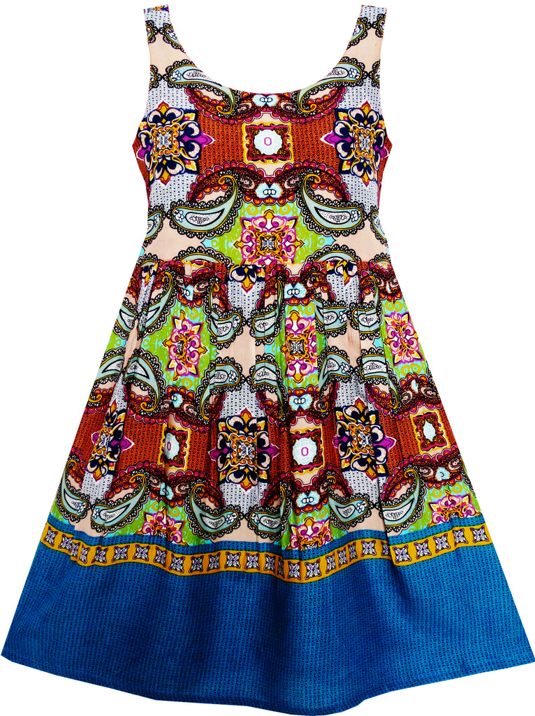 Girls Dress Sleeveless Halter Traditional Painting Carving Style Size 4-10 Years