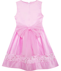 Girls Dress Flower Detailing Sequin Party Tulle Bow Tie Pink Size 2-6 Years