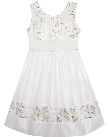 Girls Dress Flower Detailing Sequin Lace Party Princess White Size 2-6 Years