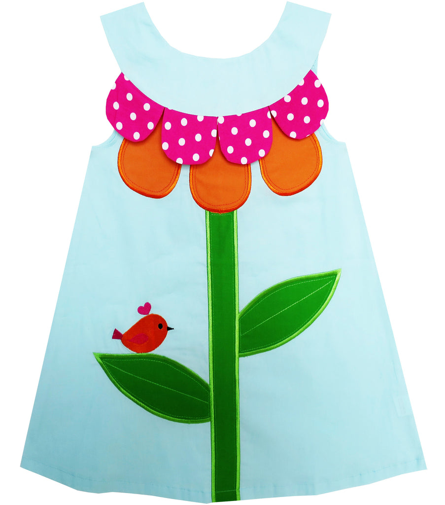 Girls Dress Tank Embroidered Green Leaves Bird Flower Size 2-6 Years