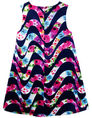 Girls Dress Tank Blooming Rose Flower Water Wave Print Size 7-14 Years