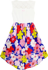 Girls Dress Lace To Chiffon Blooming Flower Tied Waist Size 7-14 Years
