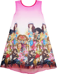 Girls Dress Tank Modern People Figure Print Pink Size 7-14 Years