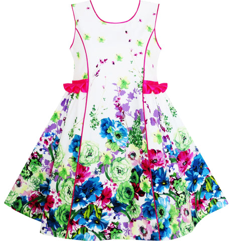 Girls Dress Elegant Blooming Rose Flower Garden Print O-Neck Size 4-10 Years