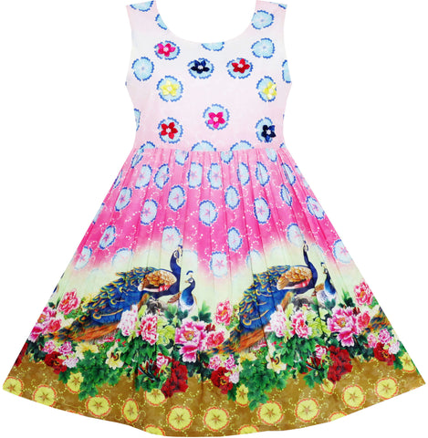 Girls Dress Chinese Peacock Peony Flower Circle Pattern Size 4-12 Years