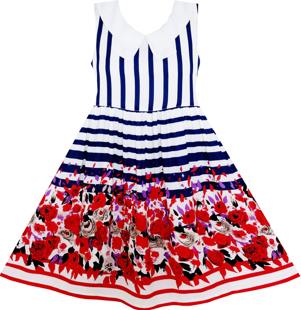 Girls Dress Turn-Down Collar Stripes Rose Flower Print Blue Size 7-14 Years