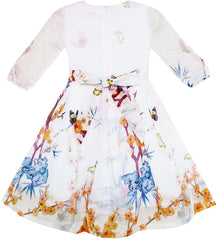 Girls Dress Butterfly Elegant Chinese Plum Flower Bamboo Pink Size 4-10 Years