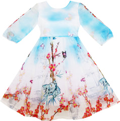 Girls Dress Butterfly Elegant Chinese Plum Flower Bamboo Blue Size 4-10 Years