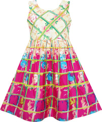 Girls Dress Sleeveless Plaid Checkered Abstract Painting Pattern Size 4-12 Years