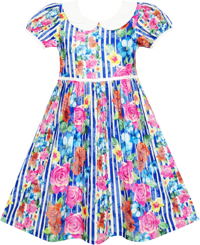 Girls Dress Turn-Down Collar Striped Blooming Rose Flower Size 4-12 Years