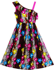 Girls Dress Sleeveless Floral Print Asymmetric Shoulder Design Size 7-14 Years