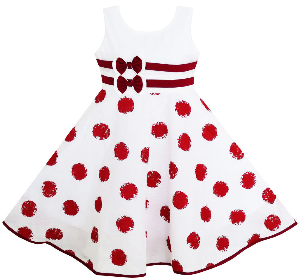 Girls Dress Wine Red Polka Dot Circle Print Double Bow Tie Size 4-12 Years