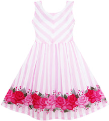 Girls Dress Striped Rose Print Tulle Pink Size 7-14 Years