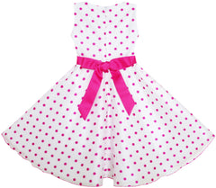 Girls Dress Polka Dot Flower Tulle Party Pageant Unique Design Size 4-12 Years