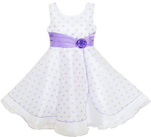 Girls Dress Polka Dot Flower Tulle Pageant Unique Design Purple Size 4-12 Years