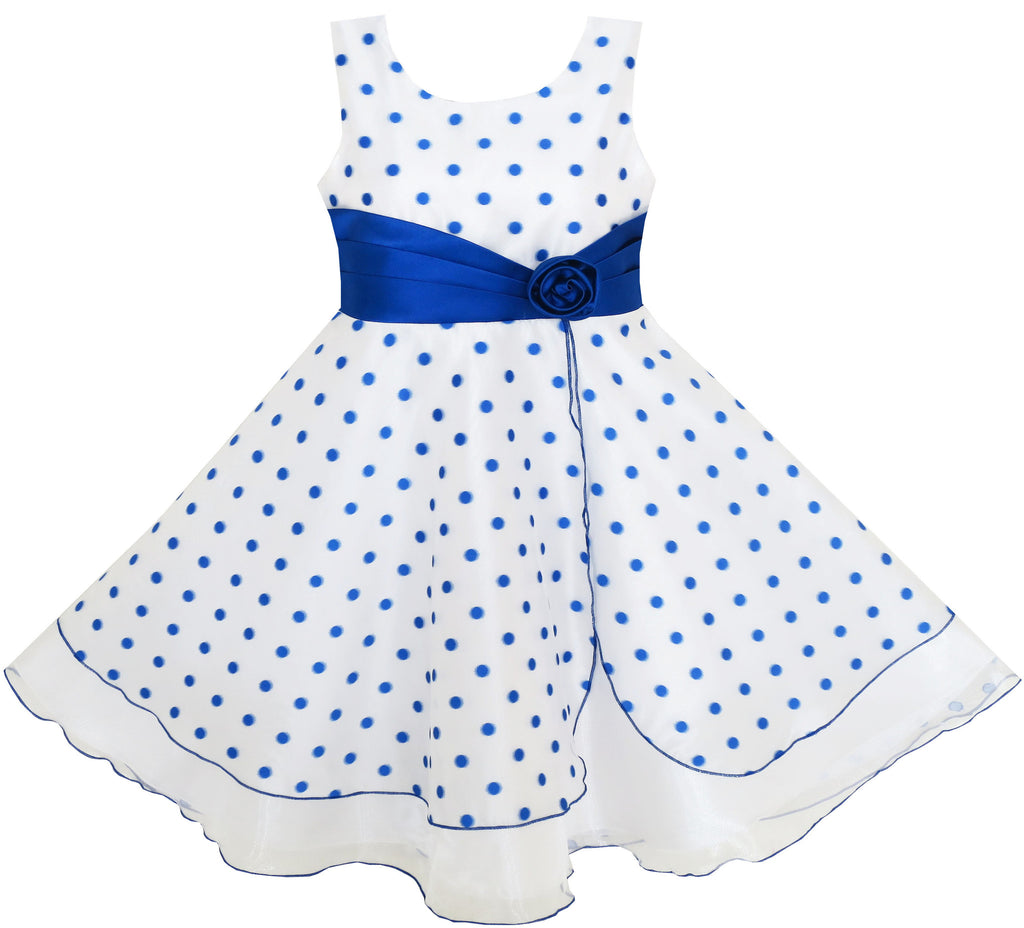 Girls Dress Polka Dot Flower Tulle Party Unique Design Blue Size 4-12 Years