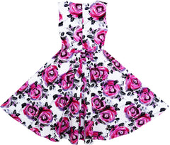 Girls Dress Princess Rose Flower Bow Tie Party Summer Cotton Size 6-12 Years
