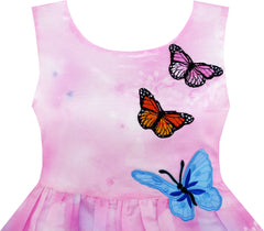 Girls Dress Rose Flower Print Butterfly Embroidery Purple Size 4-12 Years