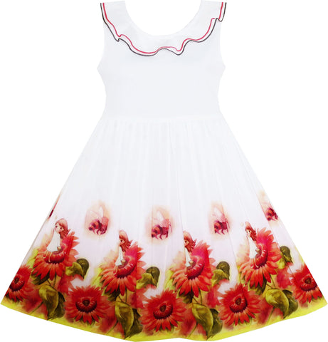 Girls Dress Sunflower Garden Turn-down Collar Sleeveless Size 4-12 Years
