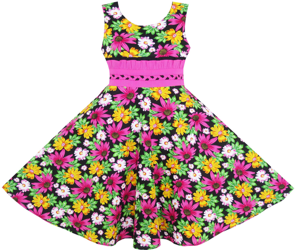 Girls Dress Princess Sunflower Lace Belt Party Summer Cotton Size 6-12 Years