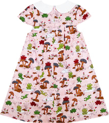 Girls Dress Turn-Down Collar Frog Mushroom Lotus Flower Size 2-6 Years
