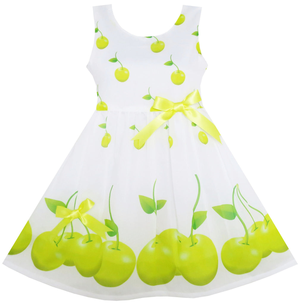Girls Dress Green Apple Leaves Print Satin Bow Tie Size 2-6 Years