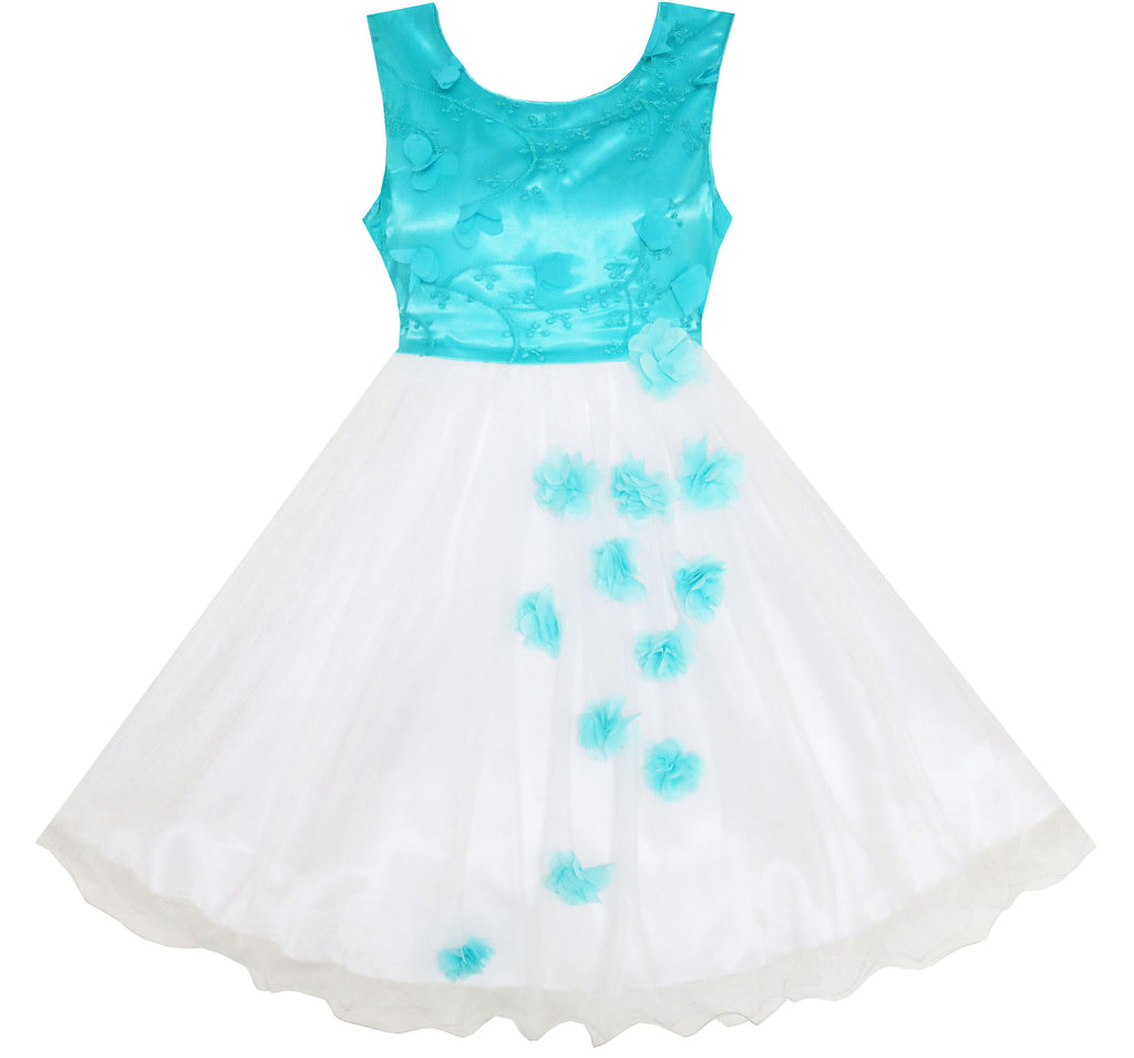 Girls Dress Tulle Overlay Embroidered Flower Party Princess Size 7-14 Years